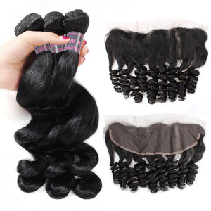 Peruvian Loose Wave Hair Extensions 3 Bundles With Lace Frontal Closure Ishow Remy Human Hair Weave Bundles - IshowVirginHair