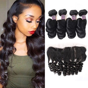 Peruvian Loose Wave With Frontal Closure 4 Bundles Non Remy Human Hair Weave Pre Plucked Lace Frontal Closure With Bundles - IshowVirginHair