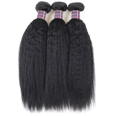 Yaki Straight Peruvian Remy Human Hair Weave 100% Human Hair Bundles Natural Color Ishow 3 Bundles Hair Extension
