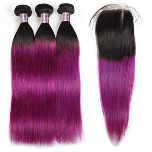 Ishow Ombre 3 Bundles With 4x4 Lace Closure Purple Virgin Remy Human Hair Straight - IshowVirginHair