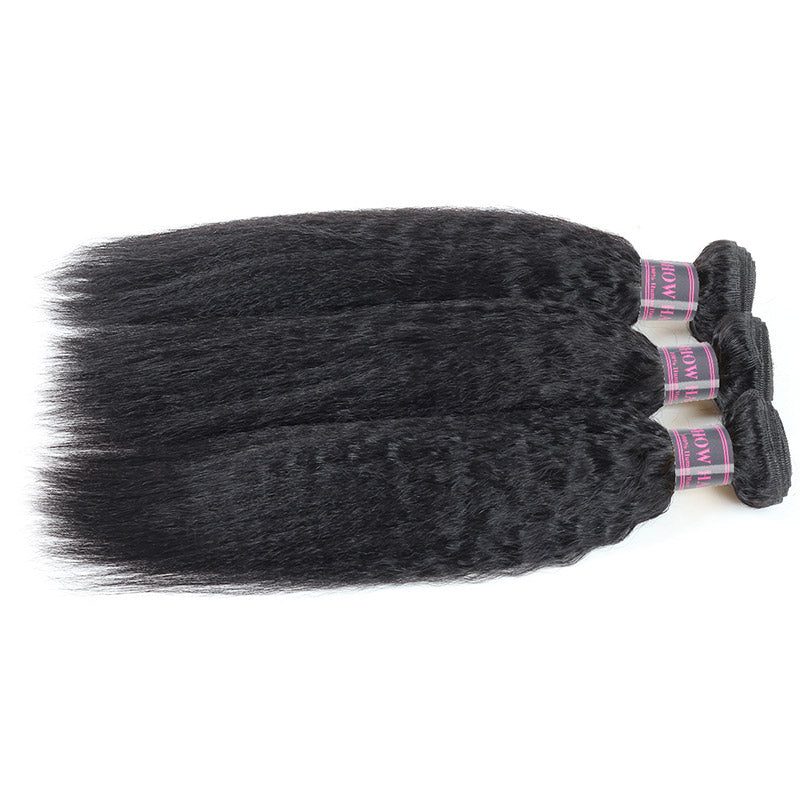Indian Remy Human Hair Yaki Straight 3 Bundles Deal Hair Extensions