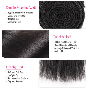 Straight Human Hair Bundles Indian Hair Extensions Ishow 3 Bundles 100%  Remy Human Hair Weave Natural black - IshowVirginHair