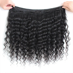 Malaysian Deep Wave Ishow 100% Remy Human Hair Weave 3 Bundles With Lace Frontal Hair Extensions Natural Color - IshowVirginHair