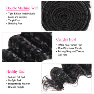 Ishow Brazilian Deep Wave Hair 3 Bundles with 4*4 Lace Closure
