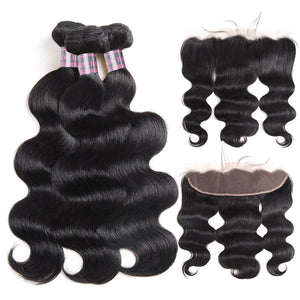 Ishow Body Wave 3 Bundles with 13*4 Lace Frontal Closure Virgin Brazilian Human Hair