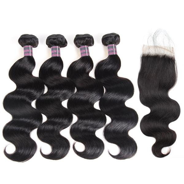 Ishow Hair Virgin Malaysian Body Wave Hair 4 Bundles With 4*4 Lace Closure