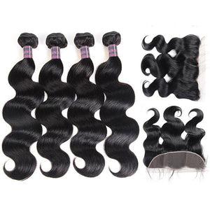 Peruvian Body Wave 4 Bundles With 13*4 Ear To Ear Lace Frontal Closure