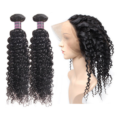 100% Virgin Remy Human Hair Ishow Curly Wave Hair Weave 2 Bundles with 360 Lace Frontal Human Hair Extensions - IshowVirginHair
