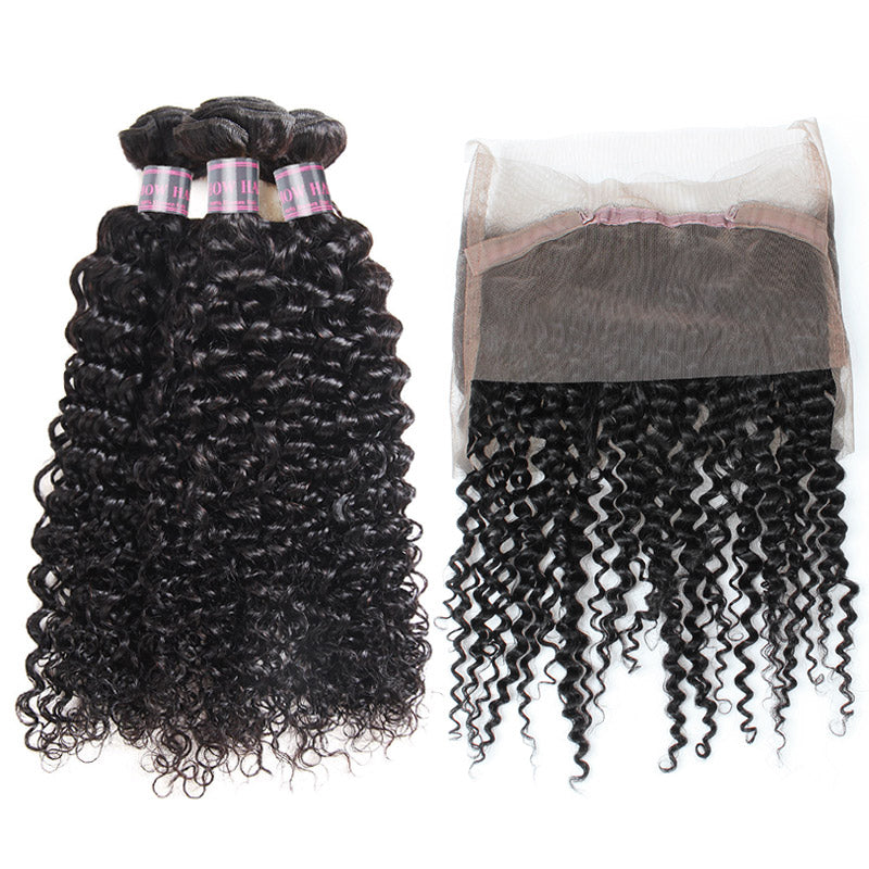 Ishow Curly Hair 3 Bundles With 360 Lace Frontal 100% Virgin Human Hair