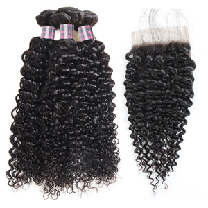 Ishow Virgin Brazilian Curly Hair Weave 3 Bundles With 4*4 Lace Closure