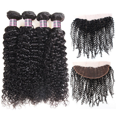 Ishow Brazilian Curly Hair Weave 4 Bundles With 13*4 Lace Frontal Closure