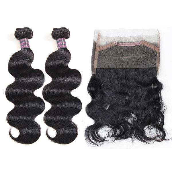 Body Wave Hair 2 Bundles With 360 lace Frontal Ishow Virgin Brazilian Human Hair Extensions