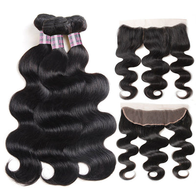 Ishow Virgin Peruvian Hair Body Wave 3 Bundles with 13*4 Lace Frontal