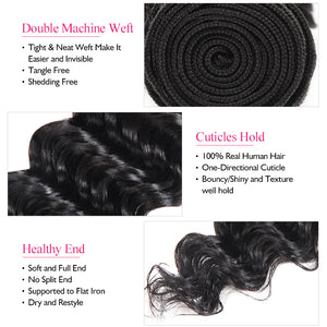 Ishow Deep Wave Human Hair Weave Bundles Hair Machine Double Weft Hair Extensions - IshowVirginHair