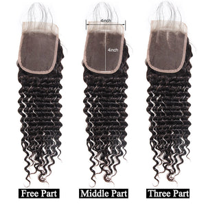 Deep Wave Hair 4*4 Lace Closure With Baby Hair Ishow Hair