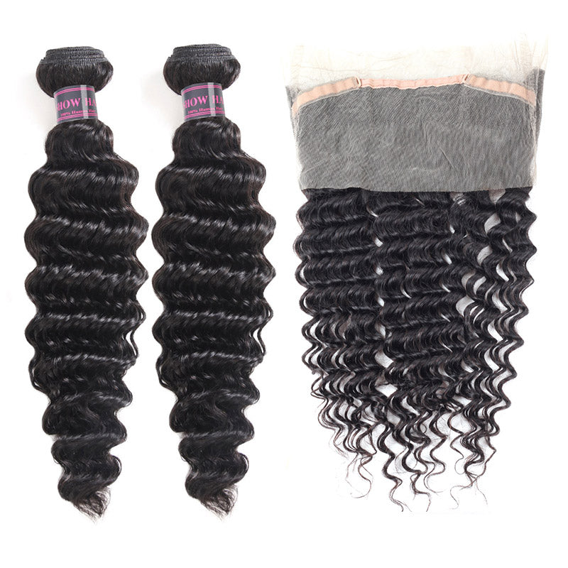 Virgin Brazilian Hair Deep Wave Hair 2 Bundles With 360 Lace Frontal