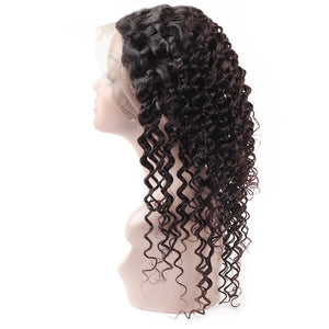 Virgin Brazilian Deep Wave Hair 3 Bundles With 360 Lace Frontal Ishow Human Hair