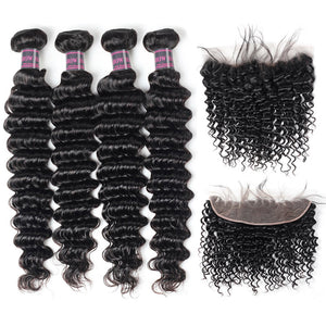 Ishow Brazilian Deep Wave Hair 4 Bundles With 13*4 Lace Frontal Closure