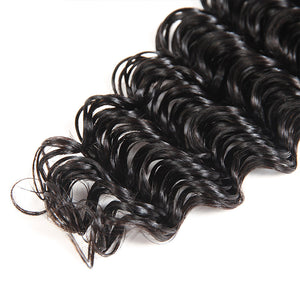 Ishow Virgin Brazilian Hair Deep Wave 3 Bundles with 13*4 Lace Frontal