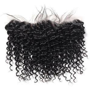 Virgin Malaysian Deep Wave Hair 3 Bundles With 13*4 Lace Frontal Ishow Hair