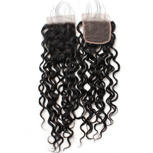 Water Wave Virgin Remy Human Hair Extensions 4x4 Lace Closure Ishow Human Hair Bundle Free Shipping Middle Part Swiss Lace - IshowVirginHair