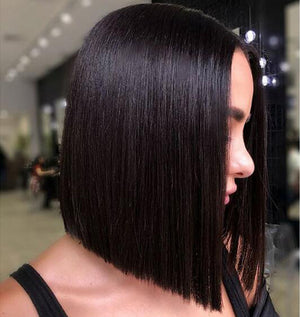 Ishow Indian Straight Short Bob Hair Wig Middle Part Lace Closure Human Hair Wigs