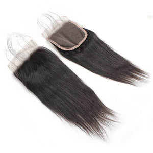 Ishow Virgin Peruvian Straight Human Hair 4 Bundles With Lace Closure