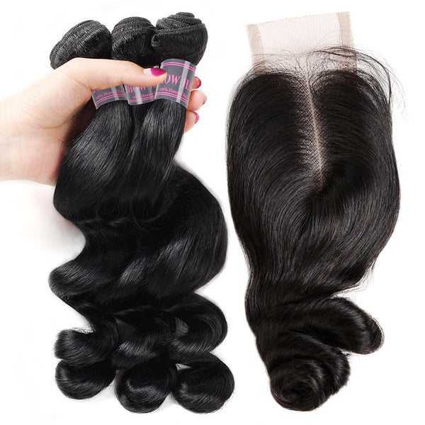 Loose Wave Ishow Virgin Human Hair Weave 3 Bundles With 2*4 Lace Closure With Baby Hair - IshowVirginHair