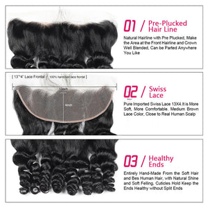 Ishow Hair Brazilian Loose Wave Hair 3 Bundles with 13*4 Lace Frontal