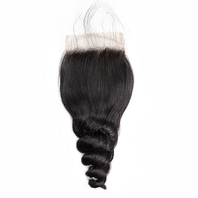 Loose Wave Hair 4*4 Lace Closure with Baby Hair 1 Piece Human Hair Lace Closure