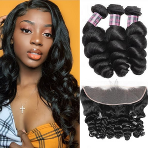Indian Loose Wave 3 Bundles With 13*4 Ear To Ear Lace Frontal Closure Ishow Hair