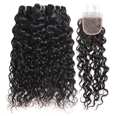 Malaysian Water Wave Ishow Human Hair Extensions 3 Bundles With Lace Closure 100% Remy Human Hair Weave Bundles - IshowVirginHair