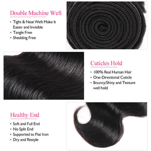 Ishow Hair Virgin Indian Body Wave Human Hair Weave 3 Bundles With Lace Closure