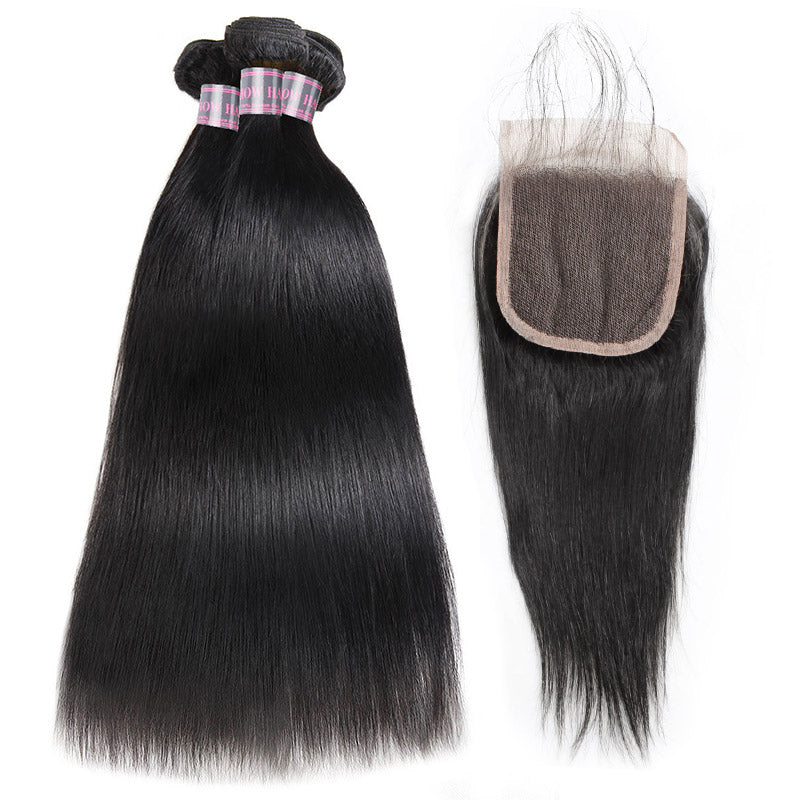 Malaysian Straight Hair Weave 3 Bundles with Lace Closure Natural Color 100% Remy Virgin Human Hair Bundles