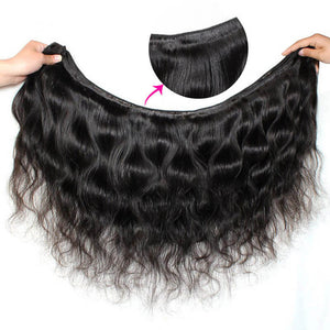 Virgin Peruvian Body Wave 4 Bundles With 13*4 Ear To Ear Lace Frontal Closure