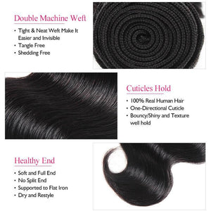 Malaysian Body Wave Hair Ishow Virgin Remy Human Hair Extensions 4 Bundles Natural Color - IshowVirginHair