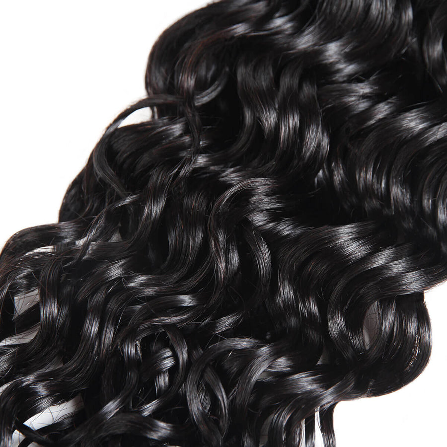 Peruvian Water Wave Hair Weave 4 Bundles With Lace Closure Free Part Remy Human Hair Extensions Natural Color Hair Bundles - IshowVirginHair