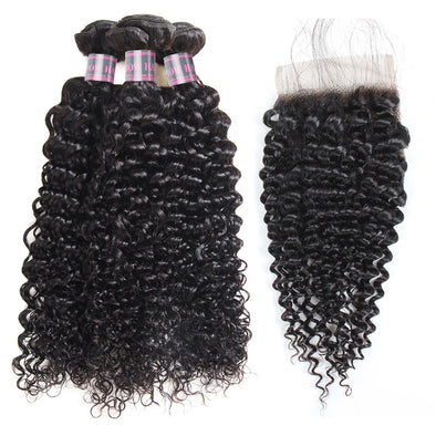 Peruvian Curly Wave Human Hair Extensions 3 Bundles with 4x4 Lace Closure Remy Virgin Human Hair Bundles Of Weave - IshowVirginHair