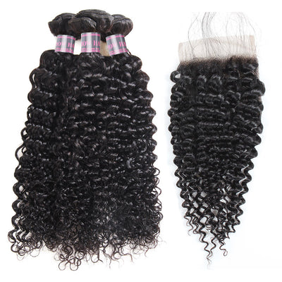 Virgin Peruvian Curly Hair 3 Bundles with 4x4 Lace Closure Ishow Human Hair Extensions
