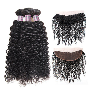Virgin Peruvian Curly Hair 3 Bundles With 13*4 Lace Frontal Ishow Human Hair Extensions