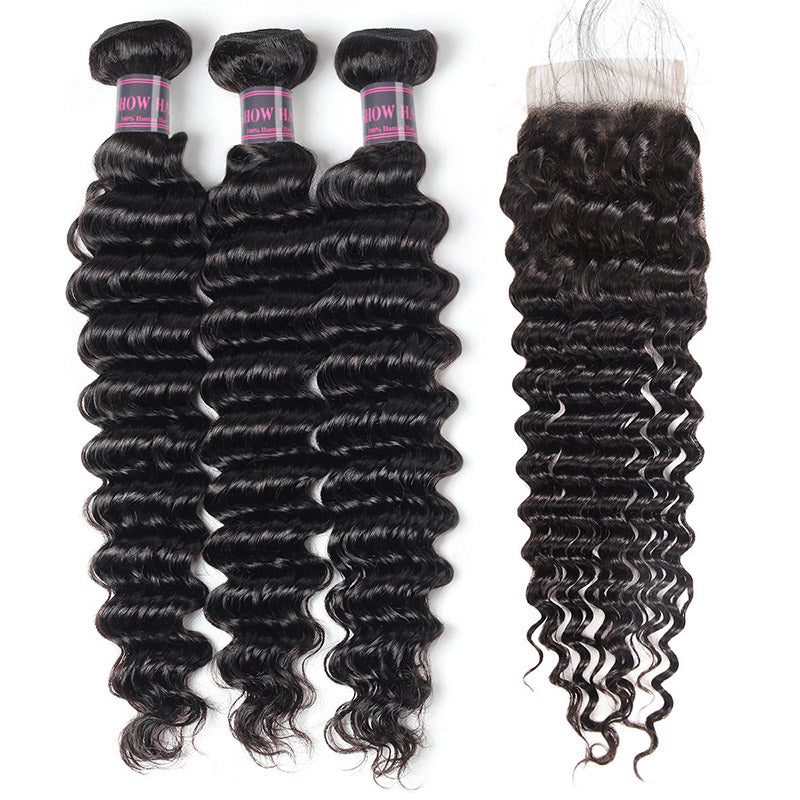 Peruvian Deep Wave Hair 3 Bundles With Lace Closure Ishow Human Hair Extensions