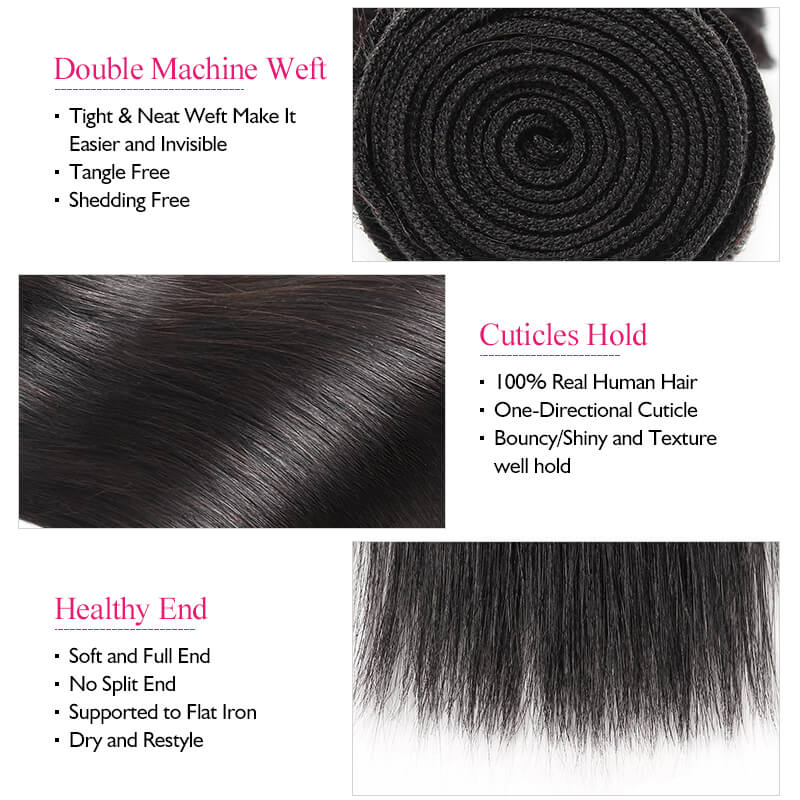 Ishow Hair Virgin Brazilian Straight Human hair Weave 3 Bundles