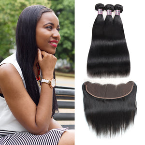 Malaysian Ishow Straight 100% Remy Human Hair 3 Bundles With 13x4 Lace Frontal Natural Color Hair Extensions - IshowVirginHair