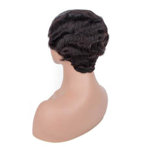 Ishow Short Human Hair Wigs Finger Wave Machine Made Virgin Remy Hair Wig