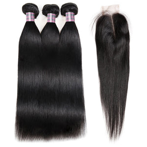 Straight Hair Weave Ishow Remy Virgin Human Hair 3 Bundles with 2*4 Lace Closure - IshowVirginHair