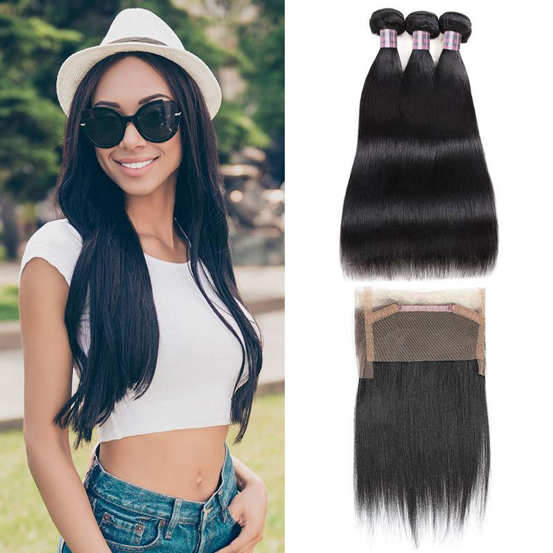 100% Virgin Remy Human Hair Bundles of Weft Indian Straight Natural Color 3 Bundles With 360 Lace Frontal Closure - IshowVirginHair