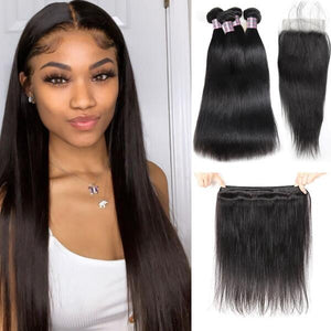 Ishow Human Hair T1b/613 Blonde Hair Bundles With Lace Frontal 3 Bundles Brazilian Straight Hair
