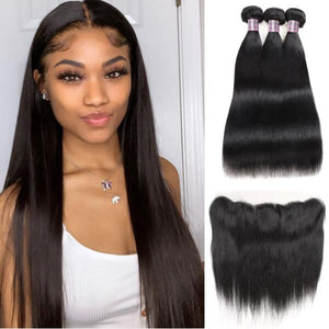 Ishow Brazilian Straight Virgin Hair Weave 3 Bundles with 13*4 Lace Frontal