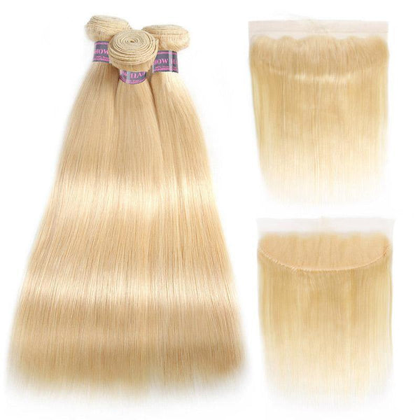 613 Blonde Hair 3 Bundles Straight Human Hair With Lace Frontal Ear to ear Lace Frontal Brazilian Hair