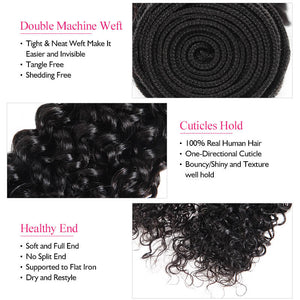 Brazilian Curly Wave 100% Virgin Remy Human Hair Bundles With 4*4 Closure Free Part Hair Weave Extensions Swiss Lace - IshowVirginHair